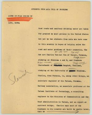 Primary view of object titled '[News Script: Students from Asia Tell of Problems]'.