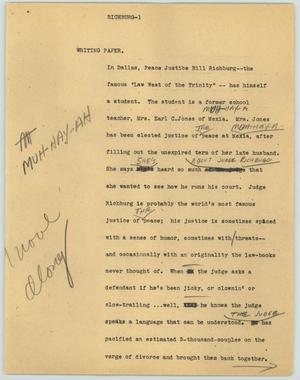 Primary view of object titled '[News Script: Richburg]'.