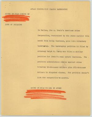 Primary view of object titled '[News Script: Atlas Corporation Claims Bankruptcy]'.