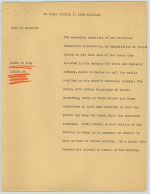 Primary view of object titled '[News Script: U.S. Trust Victims to Shun Politics]'.