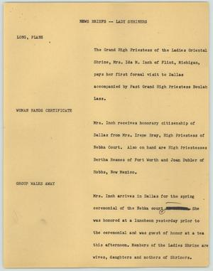 Primary view of object titled '[News Script: News Briefs--Lady Shriners]'.