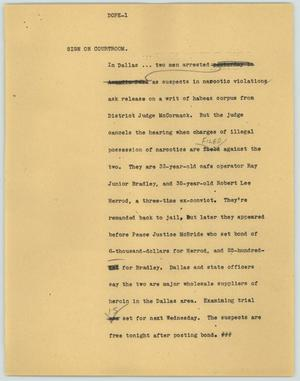 Primary view of object titled '[News Script: Doped]'.