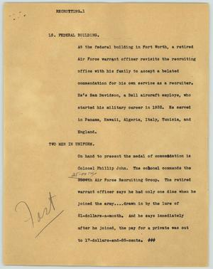 Primary view of object titled '[News Script: Recruiting]'.