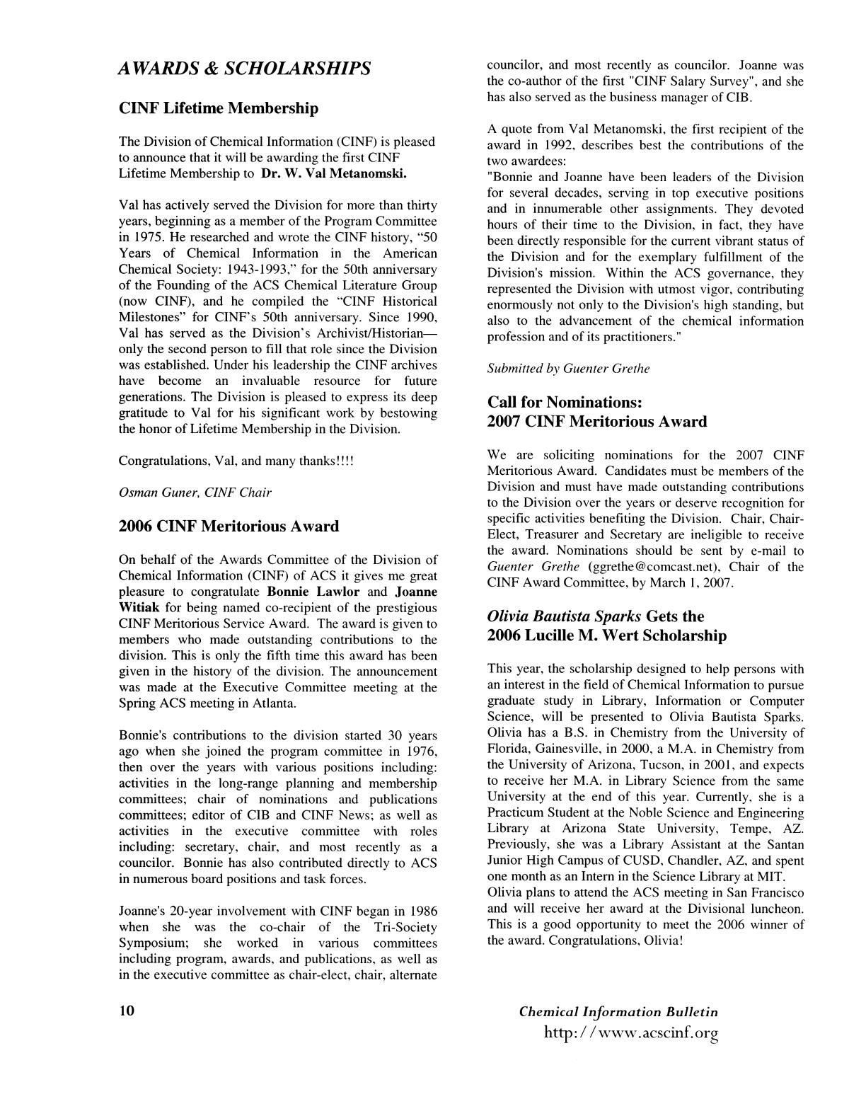 Chemical Information Bulletin, Volume 58, Number 2, Fall 2006                                                                                                      10