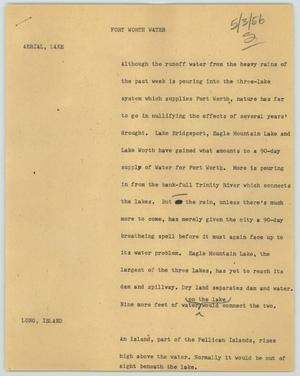 Primary view of object titled '[News Script: Fort Worth water]'.