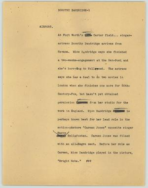 Primary view of object titled '[News Script: Dorothy Dandridge]'.