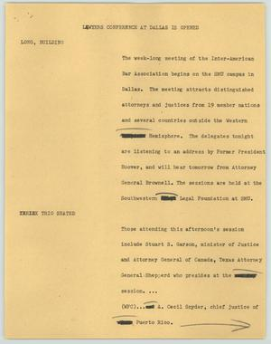 Primary view of object titled '[News Script: Lawyers conference at Dallas is opened]'.