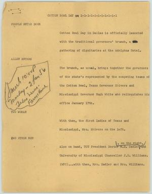 Primary view of object titled '[News Script: Cotton Bowl Day]'.