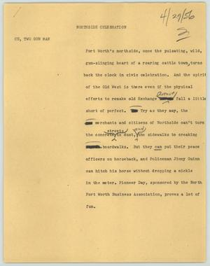 Primary view of object titled '[News Script: Northside celebration]'.