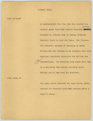 Primary view of object titled '[News Script: Tidwell Trial]'.