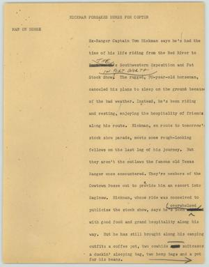 Primary view of object titled '[News Script: Hickman Forsakes Horse for Copter]'.