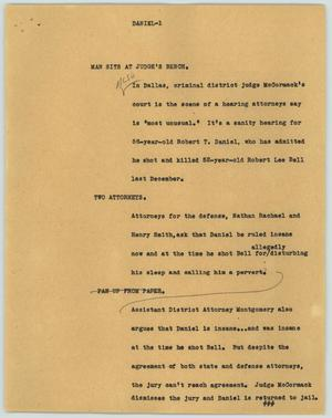 Primary view of object titled '[News Script: Daniel]'.