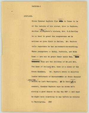 Primary view of object titled '[News Script: Rayburn]'.