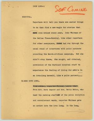 Primary view of object titled '[News Script: Iron Lung]'.