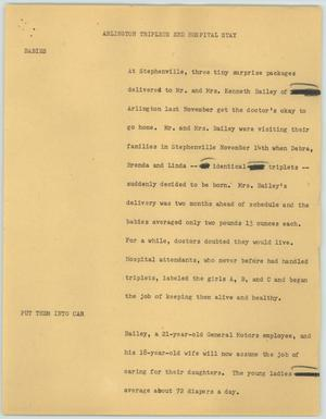 Primary view of object titled '[News Script: Arlington Triplets End Hospital Stay]'.