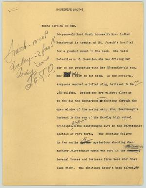Primary view of object titled '[News Script: Housewife Shot]'.
