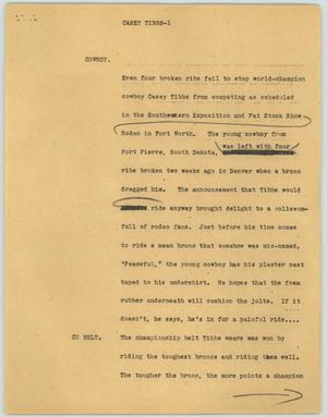 Primary view of object titled '[News Script: Casey Tibbs]'.
