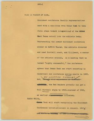 Primary view of object titled '[News Script: SWC]'.