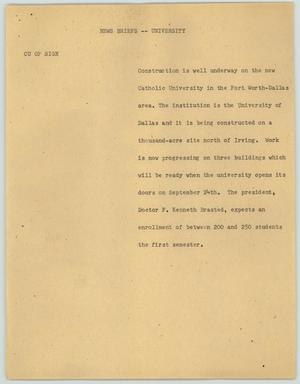 Primary view of object titled '[News Script: News briefs - University]'.