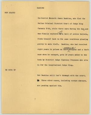 Primary view of object titled '[News Script: Baskins]'.