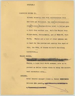Primary view of object titled '[News Script: Statler]'.