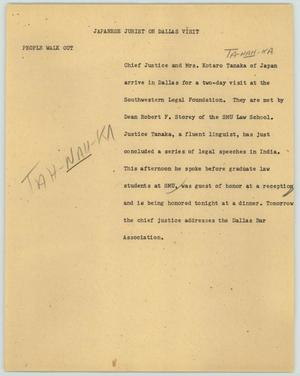 Primary view of object titled '[News Script: Japanese jurist on Dallas visit]'.
