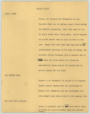 Primary view of object titled '[News Script: Dallas chimp]'.