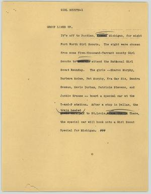 Primary view of object titled '[News Script: Girl Scouts]'.