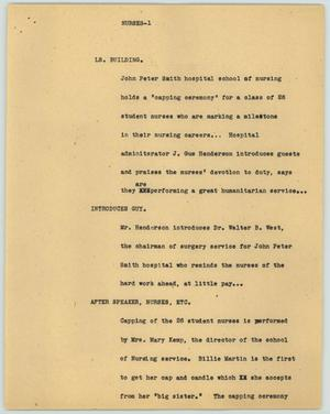 Primary view of object titled '[News Script: Nurses]'.