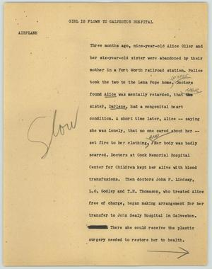 Primary view of object titled '[News Script: Girl is Flown to Galveston Hospital]'.