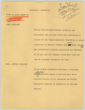 Primary view of object titled '[News Script: Democratic convention]'.