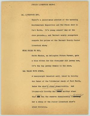 Primary view of object titled '[News Script: Junior Livestock Show]'.