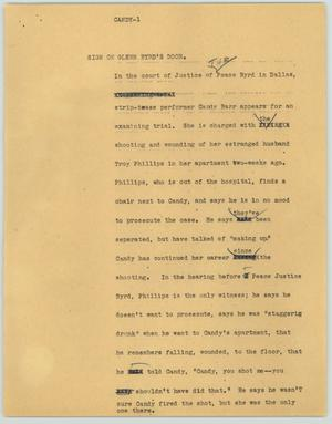 Primary view of object titled '[News Script: Candy]'.