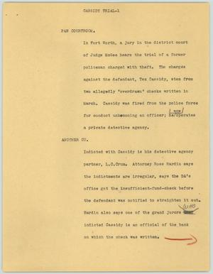 Primary view of object titled '[News Script: Cassidy trial]'.