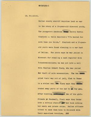 Primary view of object titled '[News Script: Escapers]'.