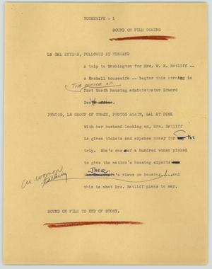 Primary view of object titled '[News Script: Housewife]'.