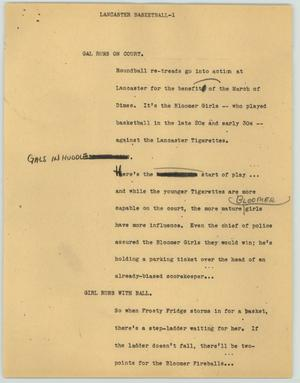 Primary view of object titled '[News Script: Lancaster Basketball]'.