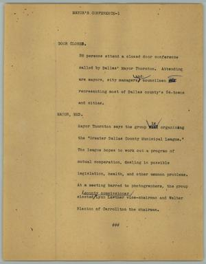 Primary view of object titled '[News Script: Mayor's conference]'.