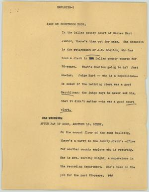 Primary view of object titled '[News Script: Employees]'.