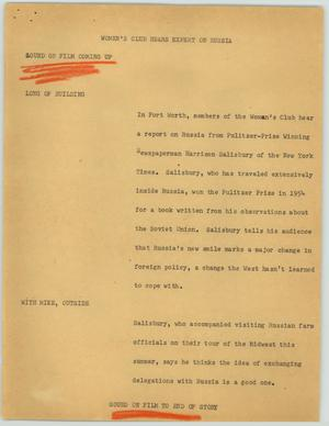 Primary view of object titled '[News Script: Women's Club Hears Expert on Russia]'.