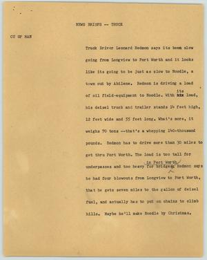 Primary view of object titled '[News Script: News Briefs - Truck]'.