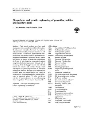 Primary view of object titled 'Biosynthesis and genetic engineering of proanthocyanidins and (iso)flavonoids'.