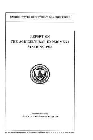 Primary view of object titled 'Report on the Agricultural Experiment Stations, 1933'.