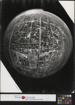 Primary view of object titled '[Aerial cityscape of Detroit with fisheye lens]'.
