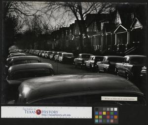 Primary view of object titled '[Cars on a Neighborhood Street]'.