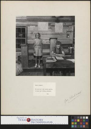 Primary view of object titled '[Girl and Boy in One Room School House]'.