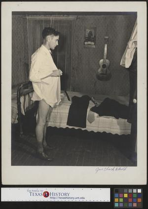 Primary view of object titled '[Gilbert Dove gets dressed before his wedding(2)]'.