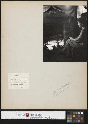 Primary view of object titled '[Girl at Fireplace with Accompanying Poem]'.