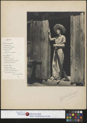 Primary view of object titled '[Country Gal standing in doorway]'.