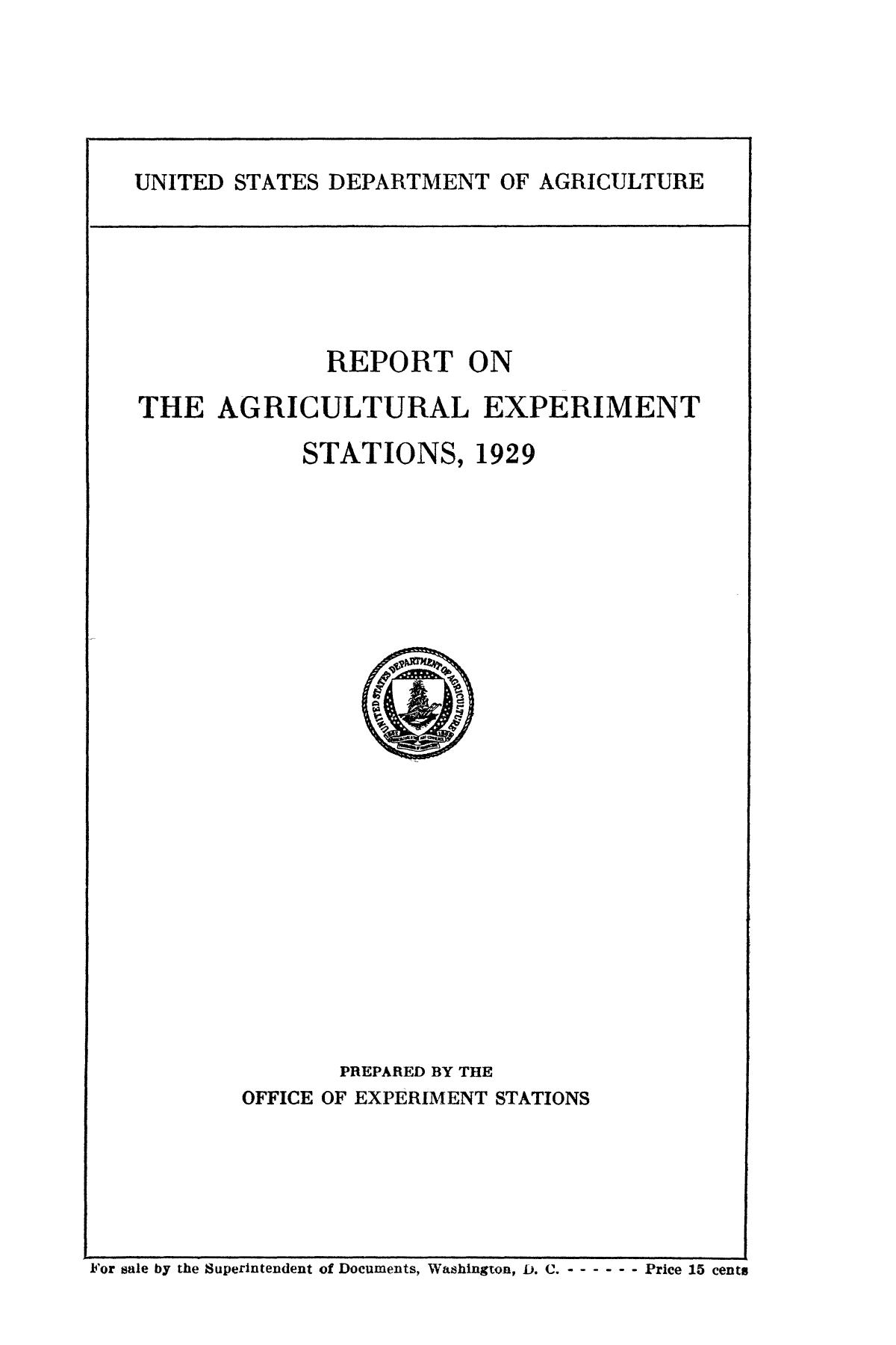 Report on the Agricultural Experiment Stations, 1929                                                                                                      Front Cover